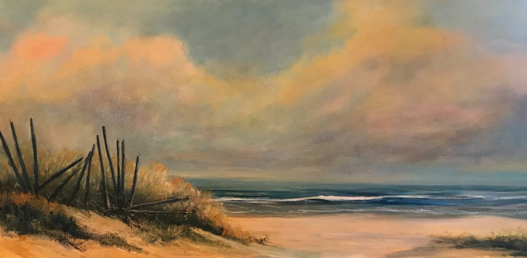 Morning light on Dunes by Kristy Vantrease Oil 12x24