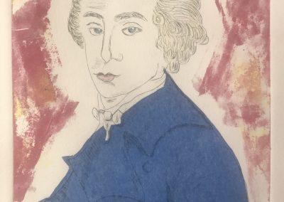 Leslie Plimpton, Count Axel von Fersen, Dry Point Etching, 18x24