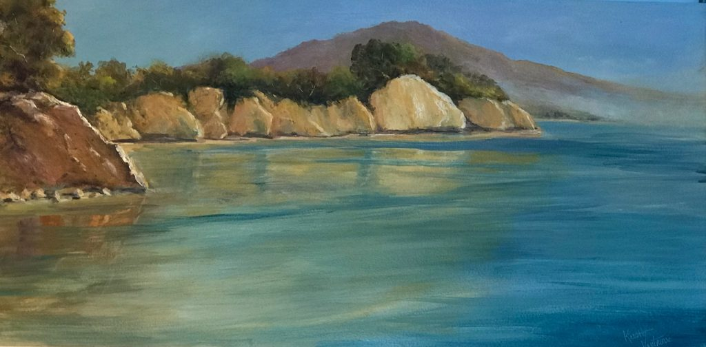 Warm Coastal Reflexions by Kristy Vantrease Oil 12x24