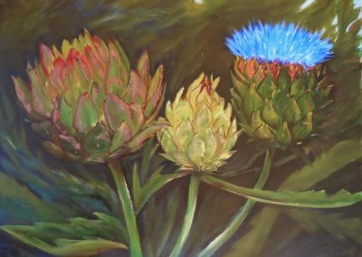 Ojai Artichokes II, Nancy Horwick, 18x24, oil on cradleboard
