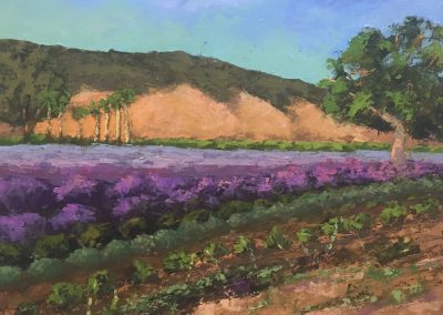 Christine Apostolina Beirne, Lavender Field Summer, 16x20, oil with cold wax medium on cradled board