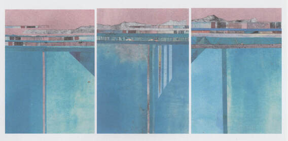 Pink Moment, Carol North Dixon, triptych