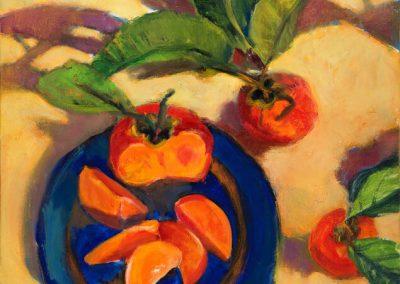 Persimmons on Blue, Sally Hamilton, oil on canvas, 24x24