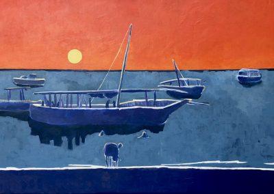 Isaure de La Presle Sunset over Zanzibar Acrylic 32x50