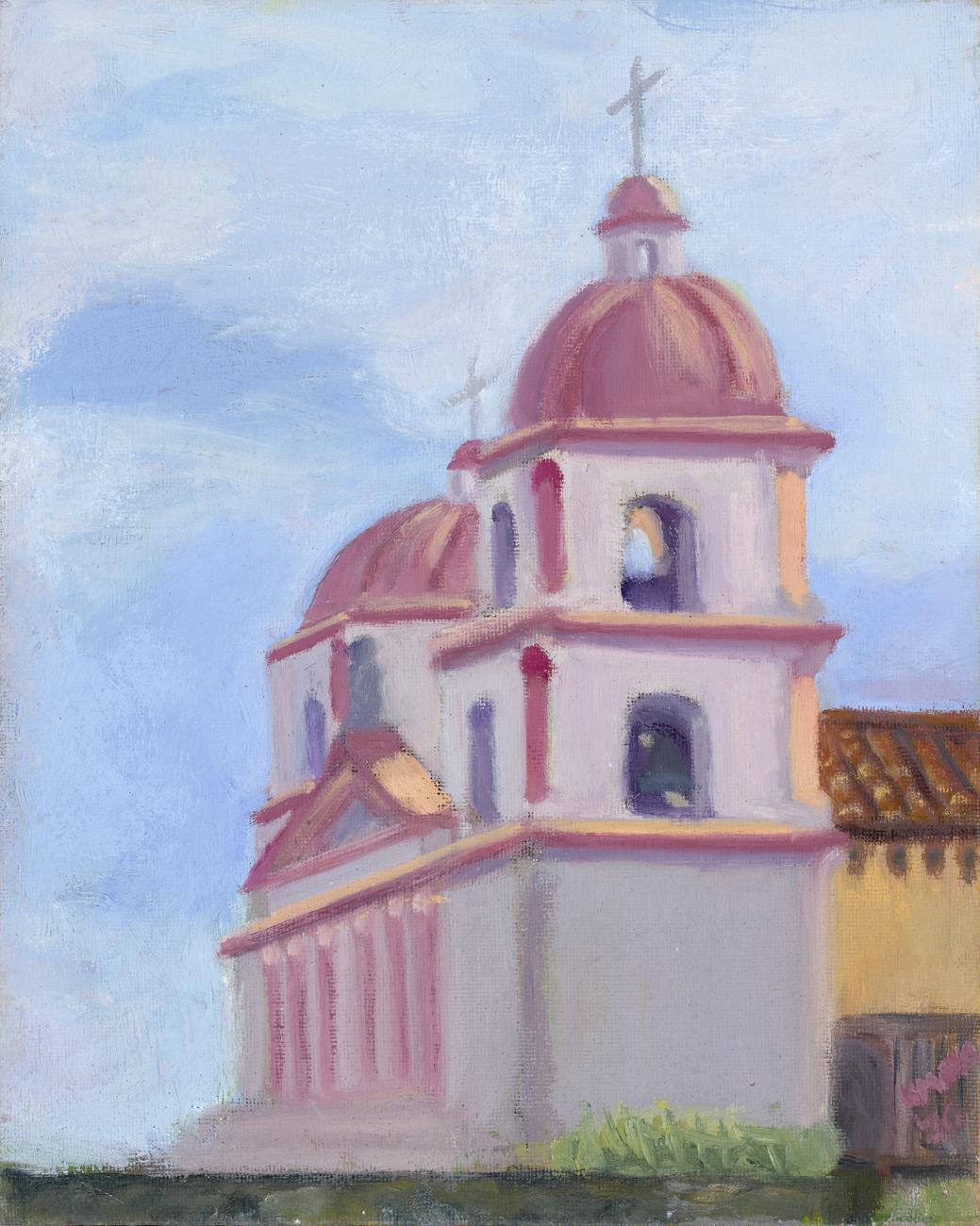 Katherine Murray-Morse_Santa Barbara Mission view from Tannery_Oil on Board_15.5Hx13.5W